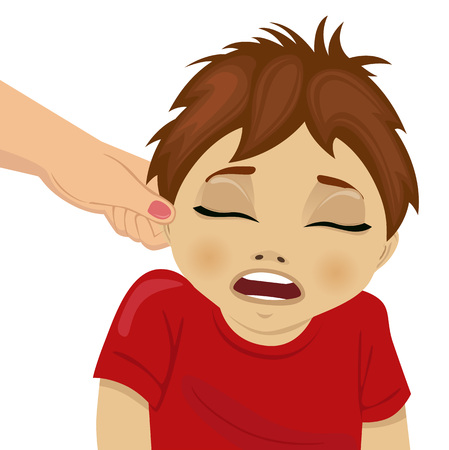 pulling: Mother pulling a sons ear. Illustration