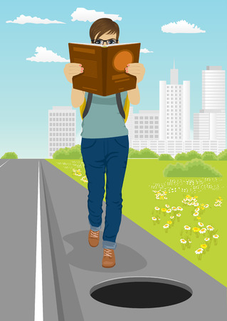not open: young student is absorbed in book goes toward dangerous open unsecured hatch on road Stock Photo