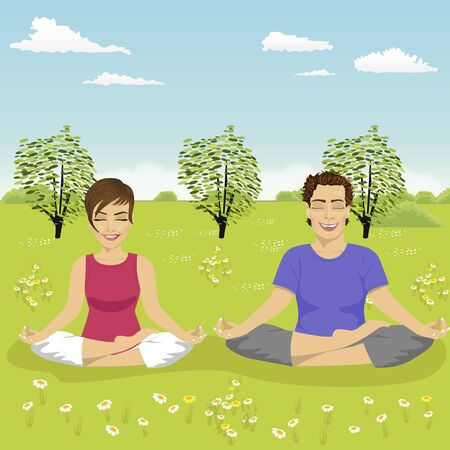 young couple doing yoga exercise in park in summer