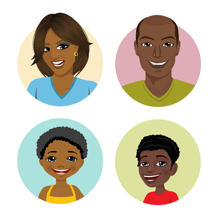 happy african american family avatars Vettoriali