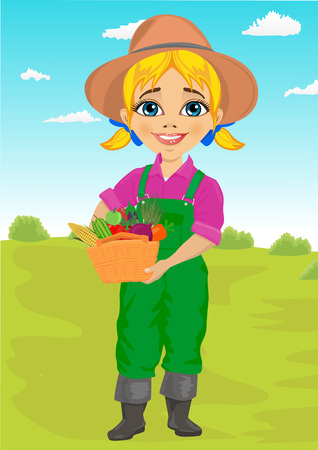 plant stand: Cute little girl playing gardener with basket full of fresh vegetables