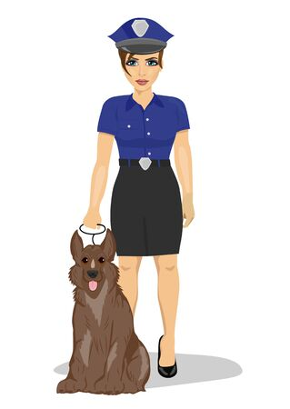 policewoman: young policewoman standing with a dog