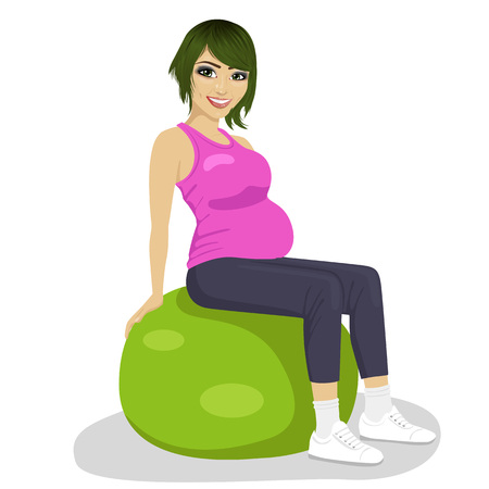 pregnancy exercise: Fitness, sport and lifestyle concept - pregnant women on exercise balls Illustration