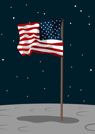 USA flag sur la surface de la lune