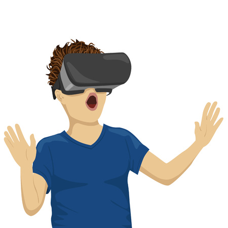 young teenager boy looking in vr goggles Stock Vector - 74623799