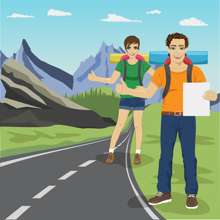 couple hiking: Young man and woman hitchhiking on road in mountains