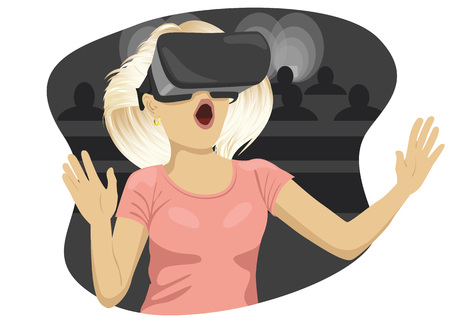 Young woman with virtual reality goggles in cinema Illustration