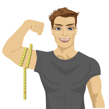 muscular man measuring biceps with tape measure