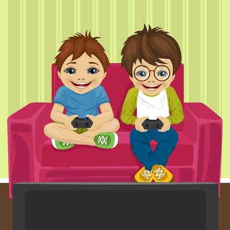 friends playing video game at home sitting on sofa