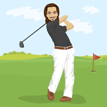 beautiful men: Male golfer hitting golf shot with club on course