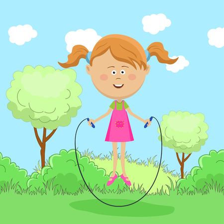 six year old: Cute little girl skipping rope in park.