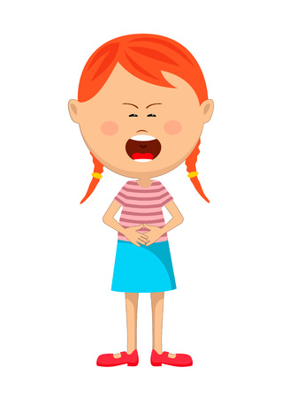 Cute young red haired girl with severe stomach ache or nausea crying.