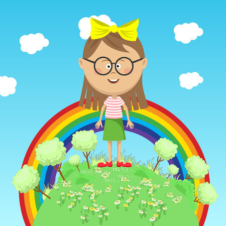 Little girl standing on green earth with trees over rainbow Illustration