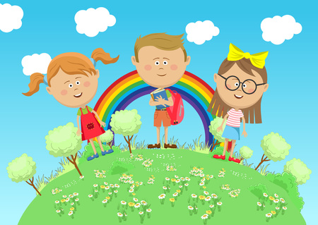 Group of school children standing on green earth with trees over rainbow Illustration