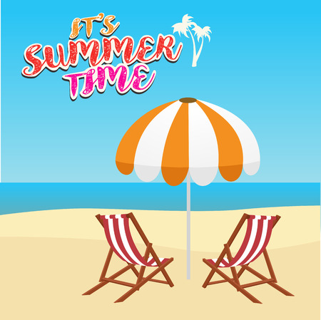 caribbean cruise: summer vacation, tourism, travel, holidays and people concept, deck chair and umbrella on beach