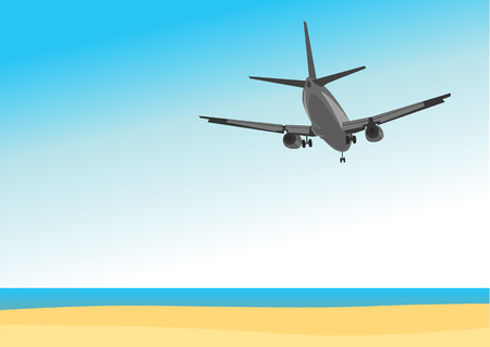 Commercial airplane flying above tropical sea