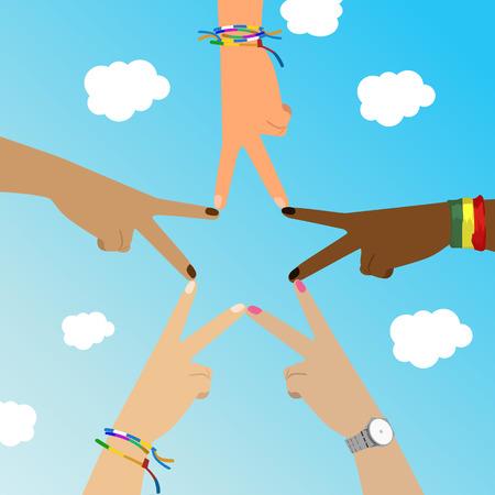 Multiracial hands make star sign over sky Vetores