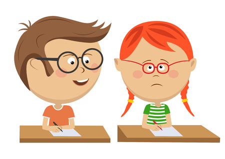 Little boy copying to a girl on exam Illustration