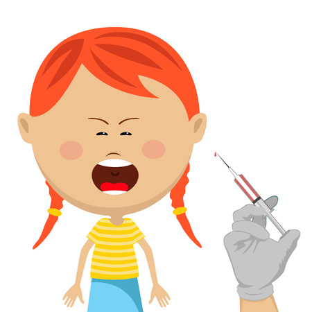 wail: Cute little girl getting vaccination crying Illustration