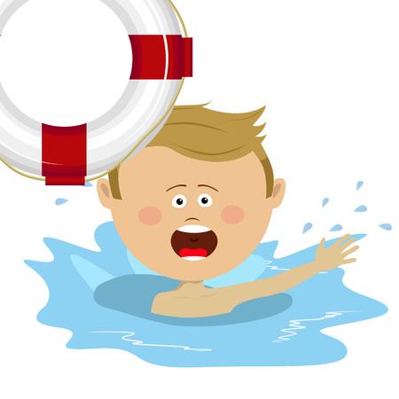 Weinig jongen die voor een reddingsboei in water worstelt die om hulp verzoeken Stock Illustratie