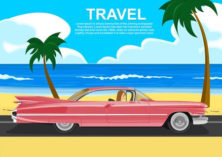 若い女性の海の海岸に沿ってレトロな車の運転