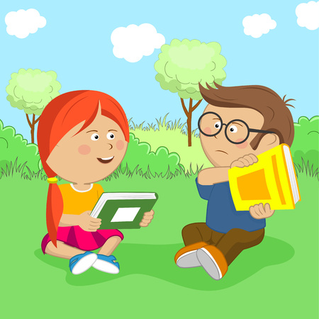 Little girl wants to exchange books but the boy is against it sitting on meadow Illustration