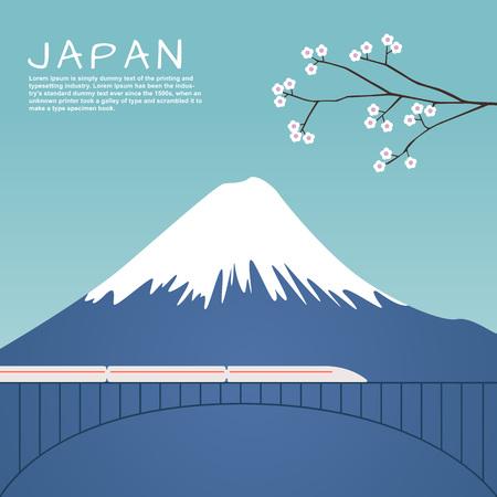 Mount Fuji in Japan with Sakura tree and train on bridge