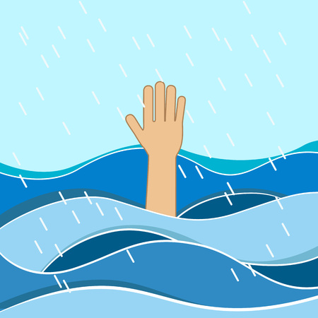 Drowning victims. Hand of drowning man needing help. Failure and rescue concept. Illustration
