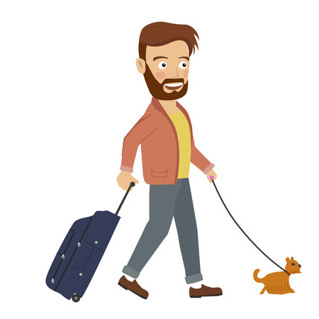 Hipster man walking with suitcase and dog