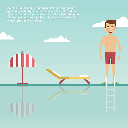 Young man is ready to jump into modern swimming pool with deck chair and umbrella