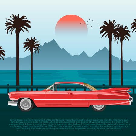 야자수와 산들과 푸른 바다 또는 바다 근처의 도로에 레드 레트로 자동차 일러스트