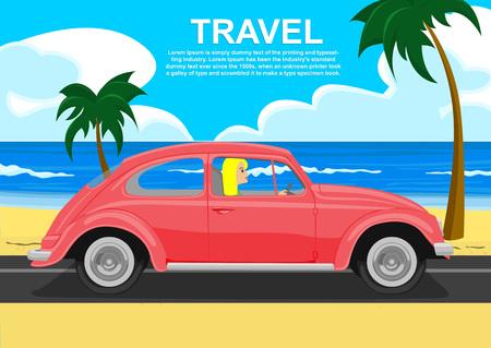 若い金髪の海の海岸に沿ってレトロな車を運転  イラスト・ベクター素材