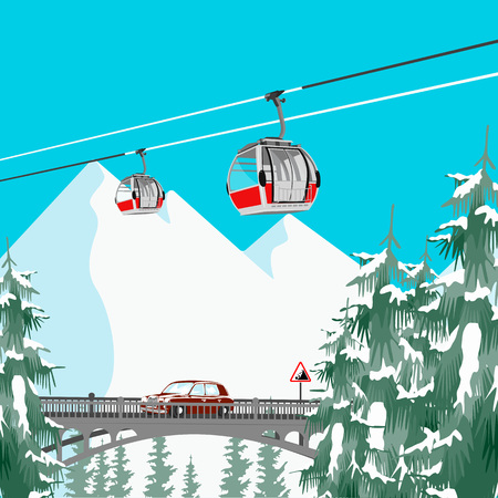 Ski resort in mountains with cable cars, bridge and coniferous trees Illustration