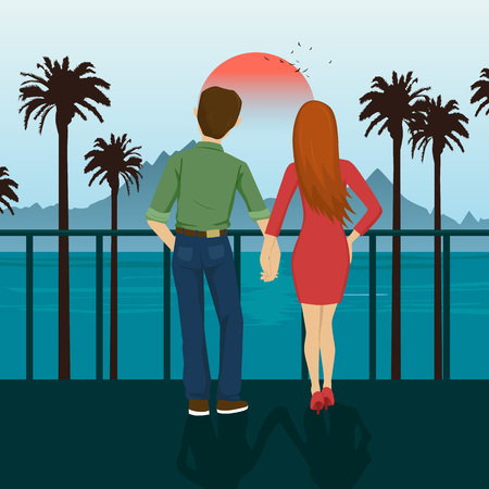Young couple holding hands standing on seafront, looking at sunset. Mountains, sea, ocean, palm trees, seacoast Illustration