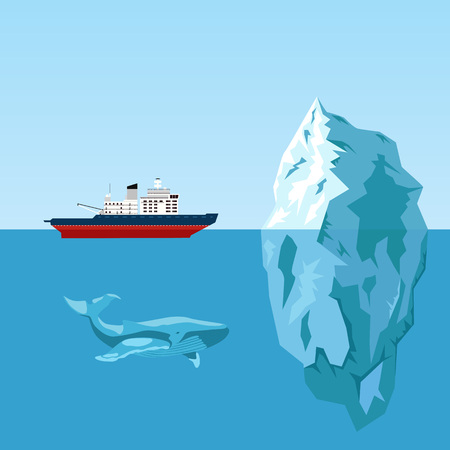 antarctic: Diesel icebreaker ship, iceberg and whale. Flat style illustration