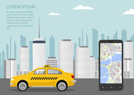 Urban cityscape with taxi cab, smartphone and taxi service application. Vector illustration in flat style