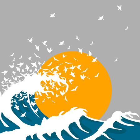 Huge waves turn into birds. Template for concert poster Illustration