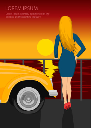 Rear view of young woman standing on seafront next to a yellow car, looking at sunset.