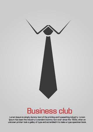 Flat illustration of necktie with white collar Illustration