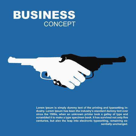 총을 들고 핸드 셰이크. 위험 사업 계약을 죽이는 일러스트