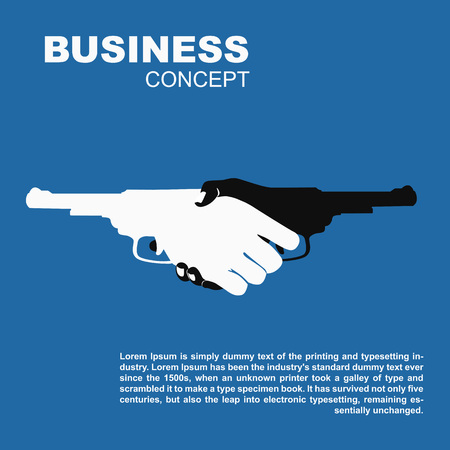 Handshake with guns. Killing business contract dangerous