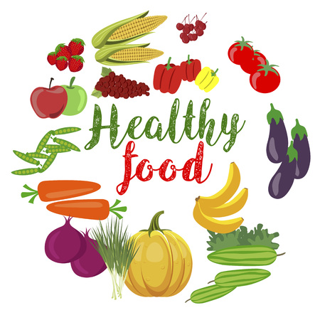 Fresh organic vegetables and fruits with healty food text Ilustração