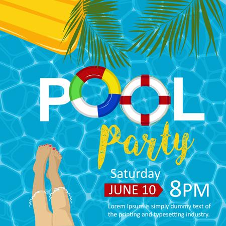 Flyer fête de la piscine. Jambes féminines, matelas gonflable, bagues, feuilles de palmier. Vue de dessus