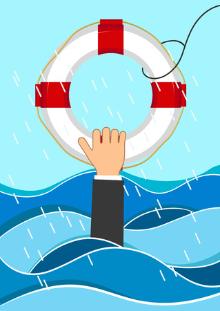 Business man drowns holding lifebuoy in waves. Flat business concept
