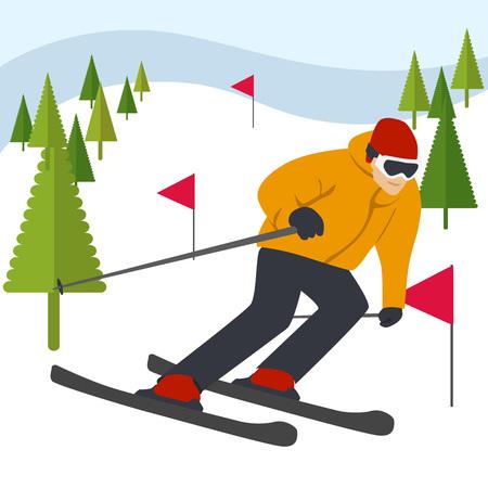フラグと針葉樹の山から山スキーヤー スライド