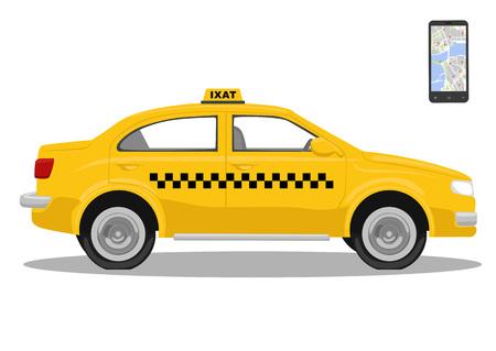 servicios publicos: Coche de taxi amarillo y smarthone. Solicitud de taxi. Solicitud de llamada de taxi. Aislado sobre fondo blanco