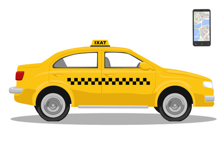 yellow car: Yellow taxi car and smarthone. App for taxi. Application for calling taxi. Isolated over white background