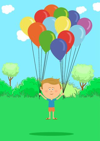 enjoyment: Little boy flying with multicolored balloons on meadow