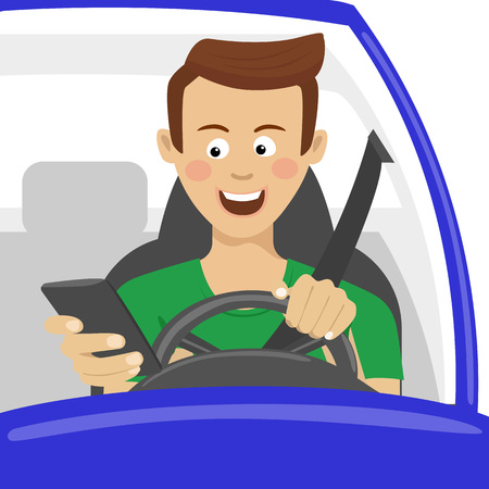 Young man using his smartphone behind the wheel. Problem addiction danger concept