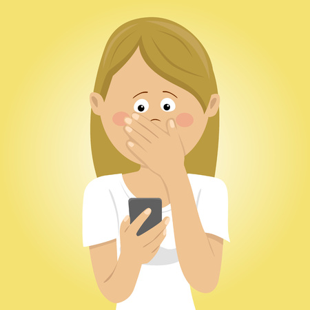 bad news: Young worried woman holding mobile phone received bad message covering mouth with her hand Illustration